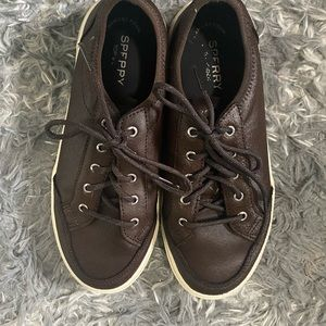 Sperry sneakers leather lace up brown